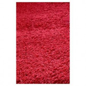 Kas Rugs Cushy Shag Red 3 ft. 3 in. x 5 ft. 3 in. Area Rug