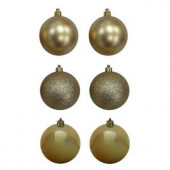 80 mm Gold Shatterproof Ornament (12-Count)