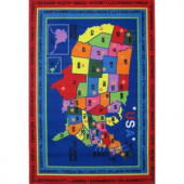LA Rug Inc. Fun Time State Capitals Multi Colored 5 ft. 3 in. x 7 ft. 6 in. Area Rug