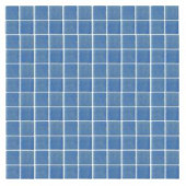 EPOCH Oceanz O-Blue-1721 Mosiac Recycled Glass Anti Slip Mesh Mounted Floor & Wall Tile - 4 in. x 4 in. Tile Sample