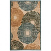 Nourison Graphic Illusions Teal 2 ft. 3 in. x 3 ft. 9 in. Scatter Rug