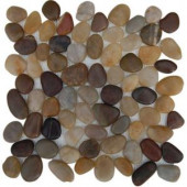 Splashback Tile Flat 3D Pebble Rock Multicolor Stacked 12 in. x 12 in. Marble Mosaic Floor and Wall Tile