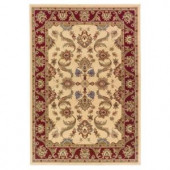 LR Resources Traditional Design with Cream and Red swirls. It is 7 ft. 9 in. x 9 ft. 9 in. and it is a Plush Indoor Area Rug