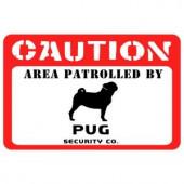 Bungalow Flooring Printed Caution 17.5 in. x 26.5 in. Pug Mat