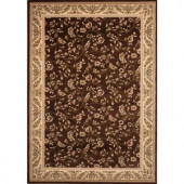 World Rug Gallery Manor House Brown/Floral 7 ft. 10 in. x 10 ft. 2 in. Area Rug