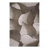 Kas Rugs Leaf Motif Silver 3 ft. 4 in. x 4 ft. 11 in. Area Rug