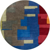 Chandra Kathryn Green/Blue 7 ft. 9 in. Indoor Round Area Rug