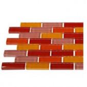 Splashback Tile Contempo Sashimi 1/2 in. x 2 in. Polished Glass Tiles In Brick Pattern - 6 in. x 6 in. Tile Sample