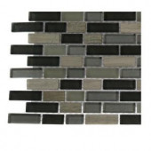 Splashback Tile Naiad Blend Bricks 1/2 in. x 2 in. Marble And Glass Tile Brick Pattern - 6 in. x 6 in. Tile Sample