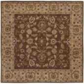 LR Resources Traditional Shape Brown and Gold 9 ft. Square Plush Indoor Area Rug