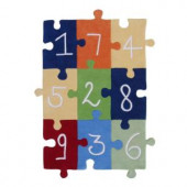 Sams International Numbers Puzzle Multi Color 3 ft. x 5 ft. Area Rug