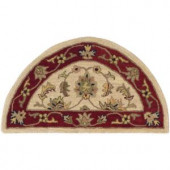 LR Resources Traditional Ivory and Red 2 ft. 3 in. x 3 ft. 10 in. Half Moon Plush Indoor Area Rug