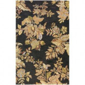 BASHIAN Valencia Collection Floral Platter Black 3 ft. 6 in. x 5 ft. 6 in. Area Rug