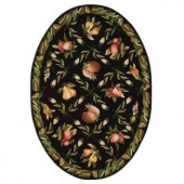 Home Decorators Collection Fruit Garden Black 4 ft. 6 in. x 6 ft. 6 in. Oval Area Rug